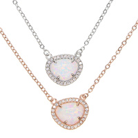SILVER Rose Gold Uneven Opal Stone Pave Cz Arround Triangle White Fire Opal High Quality Fashion