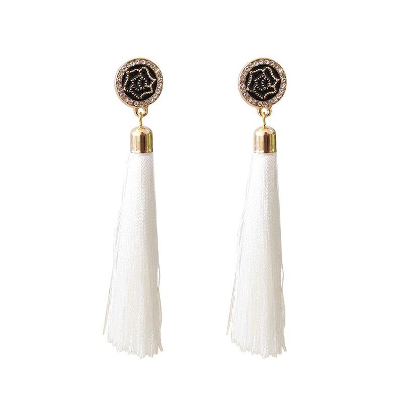 Boho Women Fashion Shell Round Metal Long Dangle Crystal Ear Stud Earrings Gifts
