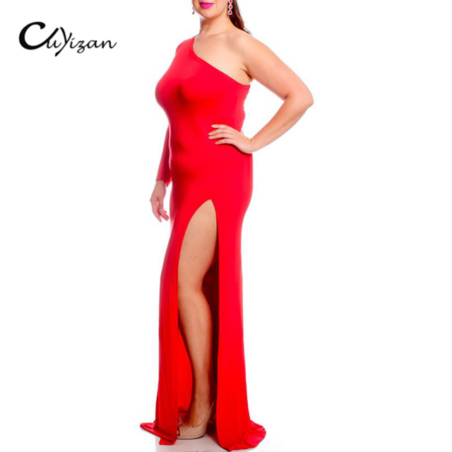 Cuyizan Women Plus Size Maxi Dress Long Sleeve One Shoulder Dresses