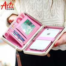 ARTISOME Leather Wallet Case For iPhone 7 6 Plus 5S Phone Bag Case Women Wallet Purse Card Holder Universal For Samsung S8 Case