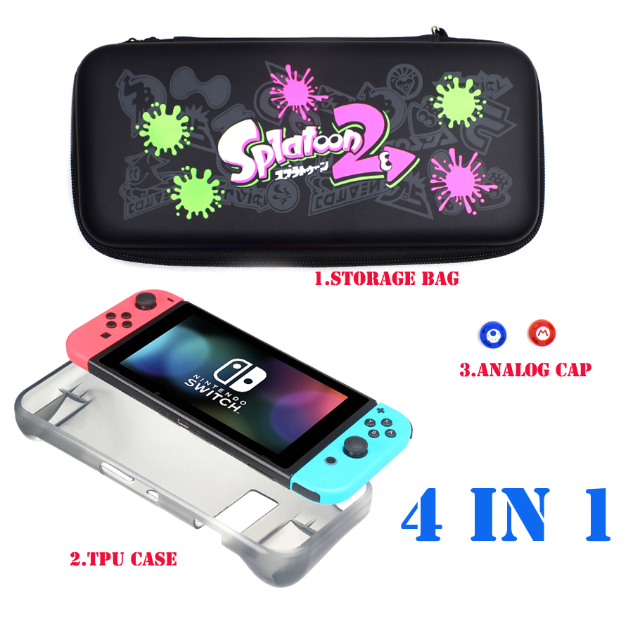 4 in 1 Kit Protective Hard Cover Carrying Case Storage Bag for Nintend Switch Console Joycon &TPU Cases&2 Analog Caps for NS