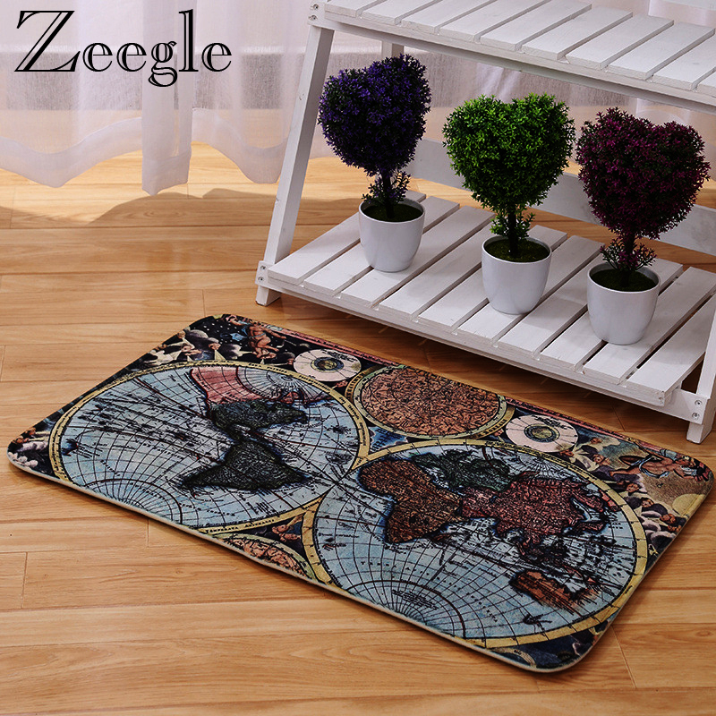 Zeegle Big Size Carpets For Living Room Hallway Doormats World Map Printed Anti Skid Floor