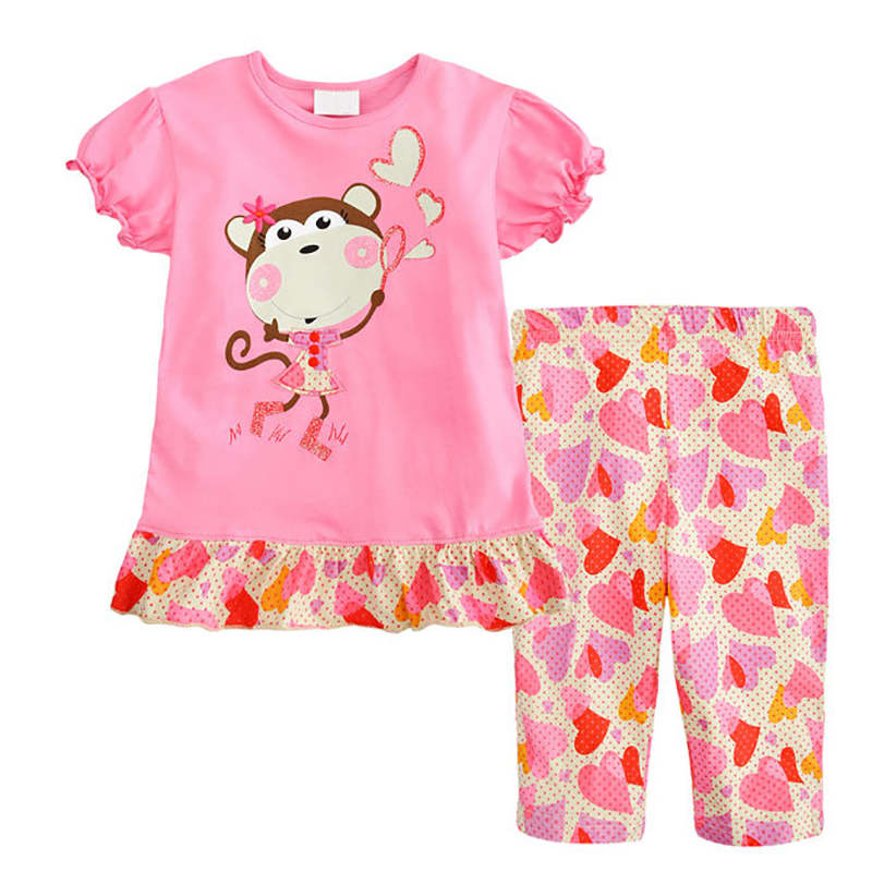 1-7 Year Children Clothing Kids Girls Clothes Baby Girls Clothing Set Summer Style Printed T-shirt + Shorts Cotton Kids Clothes