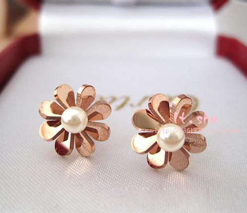 Classic Daisy Pearl Earring Fashion font b Fine b font Woman font b Jewelry b font