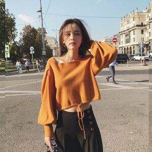Image 4 - سترة محبوك كلاسيكية للخريف من MISHOW لعام 2019 للنساء ، بلوزات قصيرة ذات ياقة مربعة غير رسمية وأكمام قصيرة MX18C5196