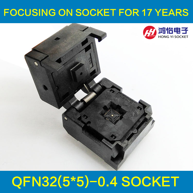 QFN32 MLF32 Burn in Socket IC Test Socket IC549-0324-006-G Pitch 0.4mm Clamshell Chip Size 5*5 Flash Adapter Programming Socket qfn48 0 5 ic test block adapter test bench burn in