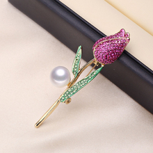 Genuine Natural Freshwater 8mm AAAA White Pearl Tulip Brooch Golden Green Rose Red Crystal Rhinestone Enamels Breastpin