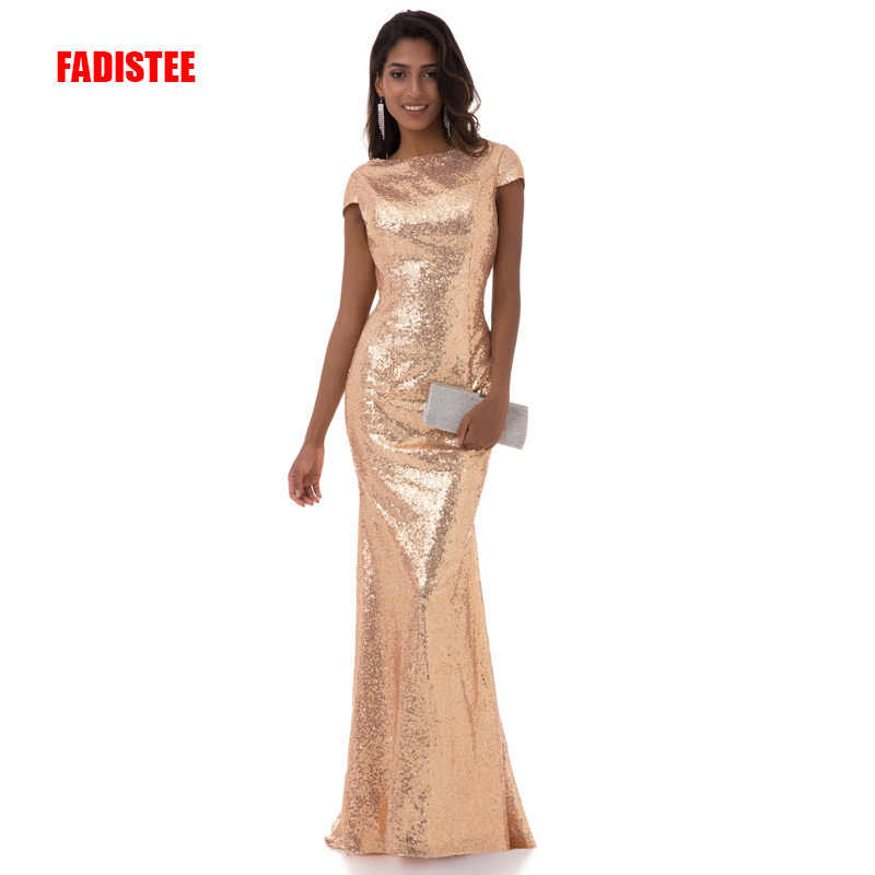 FADISTEE Hot koop avondfeest jurken prom dress sequin mermaid backless sexy lange stijl jurk formele lange gown gold japon