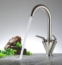 Бесплатная Доставка Кухонный кран Двойной ручкой на одно отверстие Бассейна Водопроводный кран Ванная Комната смеситель для умывальника краны BR-36007
