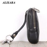 Alisara Brand New Genuine Leather Smart Key Wallet Keychain Pocket Car Key Bag Case Key Organizer Holder Housekeeper Holder