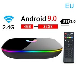 Image 1 - Q box Artı Dört Çekirdekli 4 GB + 32 GB Android 9.0 TV 4 K HD akıllı medya oynatıcısı WI FI HDMI sıcak Satış Yüksek kalite