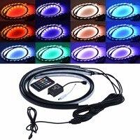 4pcs Colorful Decorative Lamp RGB LED Strip Under Car Tube Underglow Underbody Neon Light Remote 5050
