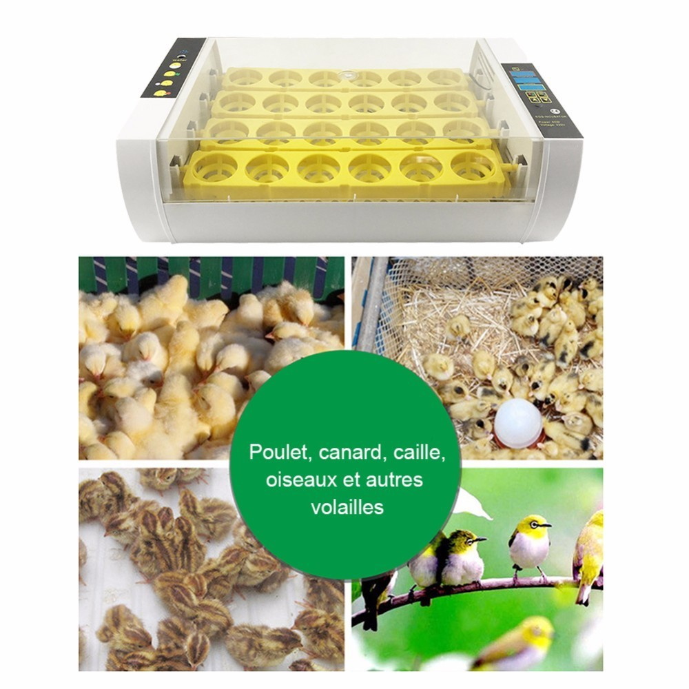 High quality 24 Eggs Incubator panel egg tray 60W Automatic Poultry Chicken Duck Eggs Hatcher Machine 110V/ 220V EU/US/UK