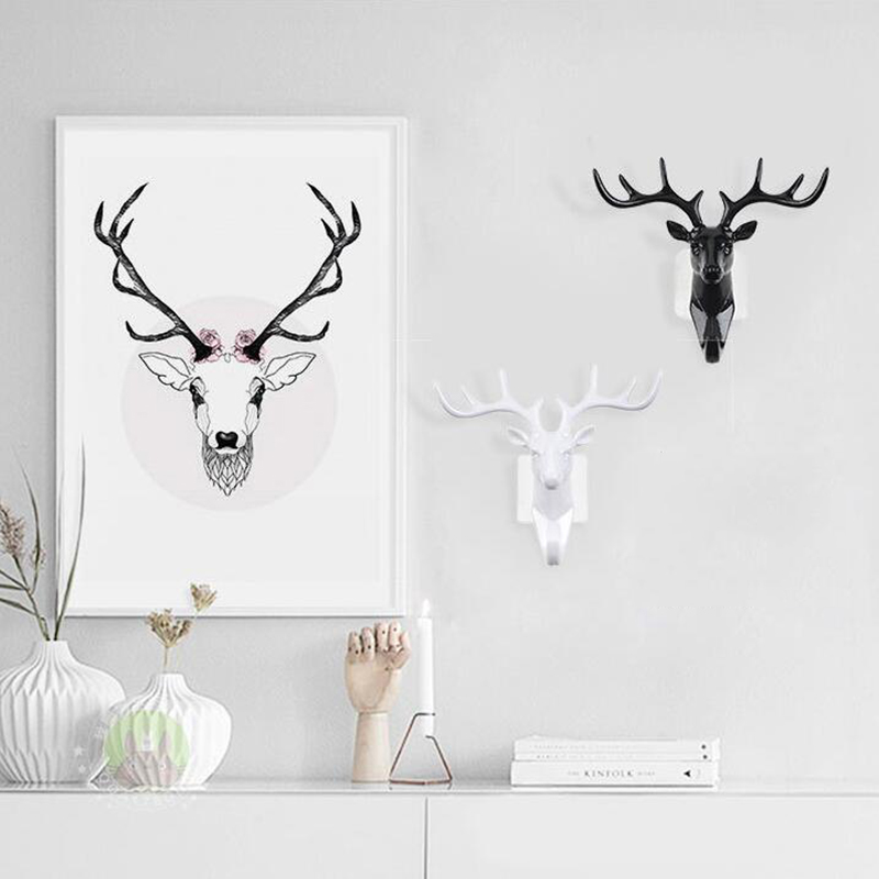 1pc Deer Head Animal Self Adhesive Clothing Display Racks Hook Coat Hanger Cap BedRoom Decor Show Keys Sticky Wall Bag Holder