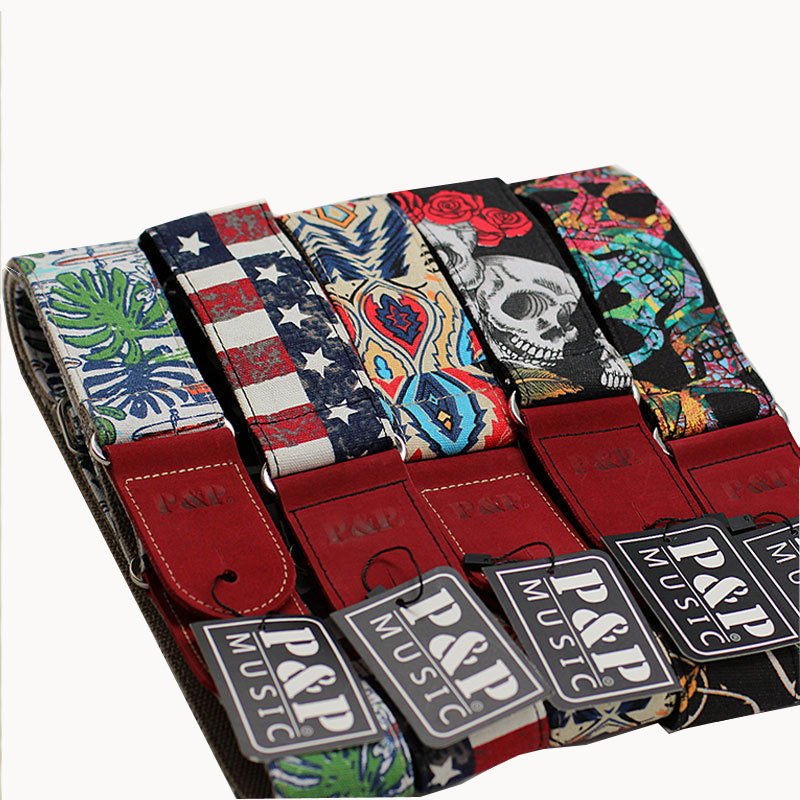 Купить с кэшбэком New Guitar Strap Foreign Trade Printed cotton real Leather High-end Ballad Guitarra belt for electric acoustic Guitars and Bass