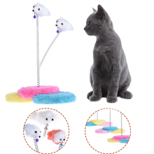 Funny Pet Cat Toys Feather False Mouse Plush Toy Cat Kitten Playing Toy Cat Mouse Scratching Pad for Pet Cat Color Randomly 1pcs