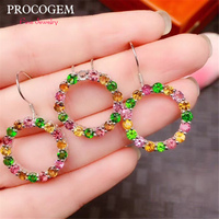 Round Natural Tourmaline Jewelry sets for Women Party Necklace Earrings More Precious Real gemstones 925 Sterling Silver #614