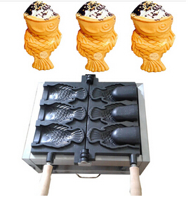 Electric Japanses 5 fish open mouth Ice cream Taiyaki maker fish cone making machine Baker iron