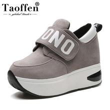 Купить с кэшбэком TAOFFEN Women Vulcanized Shoes Thick Bottom Platform Sneakers Outdoor Mixed Color Hidden Heels Jogging Shoes Women Size 35-39