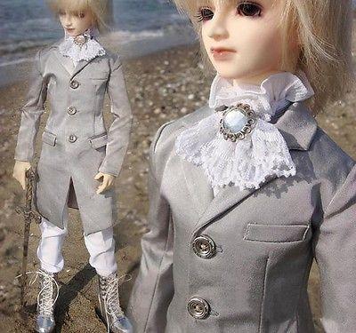 [wamami]510# Silver Prince Suit/Outfit 1/4 MSD BJD Boy Dollfie 1 3 1 4 1 6 1 8 1 12 bjd wigs fashion light gray fur wig bjd sd short wig for diy dollfie
