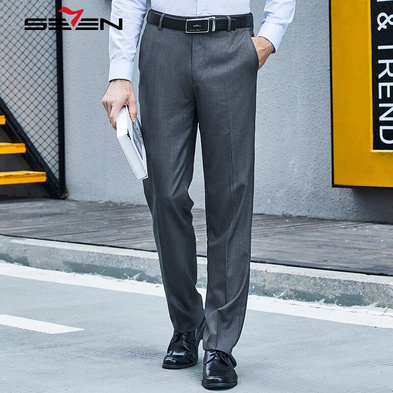 Seven7 Brand Men Formal Pants Plaid Long Dress Pants Slim Fit Suit Pants Front Flat Straight Casual Trousers Hot Sale 706B78140