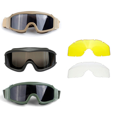 Military Airsoft Tactical Goggles Eyewear Outdoor Sport Tactical Sunglasses Paintball Army Airsoft Safety Glasses with 3 Lens