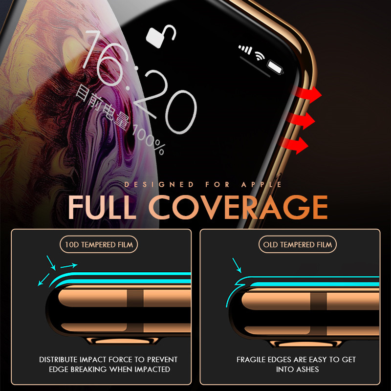 Image 2 - ZNP 10D Protective Glass on the For iPhone 6 6s 7 8 plus XR X XS glass full cover iPhone Xs Max Screen Protector Tempered Glass-in Phone Screen Protectors from Cellphones & Telecommunications