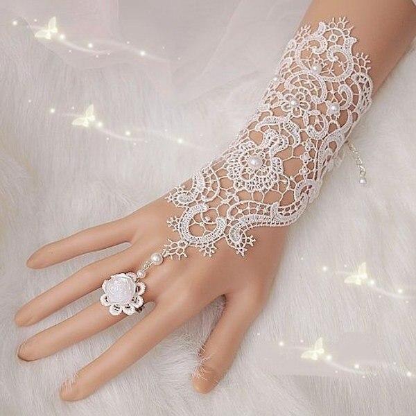 luvas de festa gorgeous apliques de encaje guantes opera novia de la