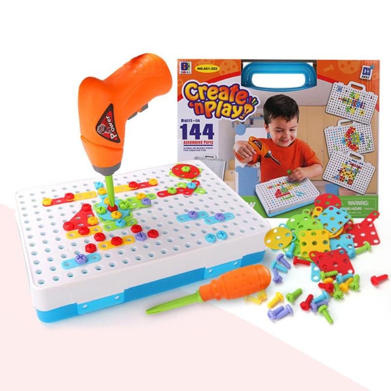 Children Toys Drill Educational Toys Puzzle DIY Screw Group Toys KidsTool Kit Plastic Boy Jigsaw Mosaic Design Building Toy стоимость