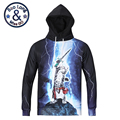 Men's Cool Stylish Hoodies Autumn Long Sleeve 3D Print Holding-Sword-cat Hoody Sweatershirts with Hat Pullover Sportwear