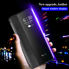 Für Huawei P30 Pro Echtem Leder Flip Fall Abdeckung Original Cenmaso Smart Touch Clear View Schutzhülle Telefon Fall