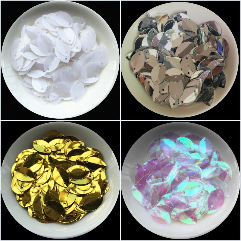 1000pcs 9*15mm Cup Oval Folded Sequins Horse Eyes Shape sequin Paillettes For Crafts,Women Diy Sewing Accessories with 2 holes