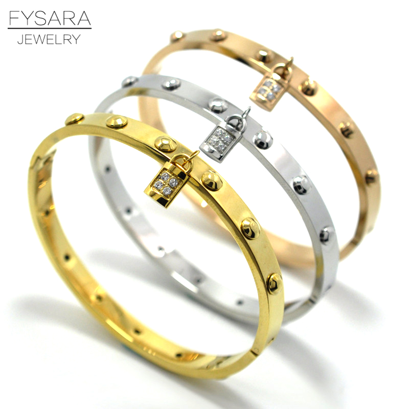 FYSARA Brand Punk Rock Jewelry Men Gold-Color Belt Love Nail Rivet Bracelet Bangle For Women Jewelry Crystals Key Bangle Charm