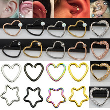1Pc Daith Heart Star Ear Helix Tragus Cartilage Ring Flat Gem Opal Stone Nose Lip Ring Piercing Earrings Body Jewelry(China)