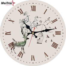 MEISTAR Tranquil Scenery Antique Clocks In Home & Garden Living Study Office Kitchen Room Decor Watches Large Wall