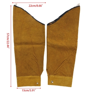 Image 2 - Free shipping Split Leather Heat Resistant Welding Sleeves Protective Armband for Welding Tool