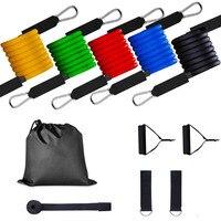 100LBS набор эластичных лент для упражнений, веревка для тяги, латексные трубки, поролоновые ручки, дверные Якорные ремни для фитнеса, йоги, тре...