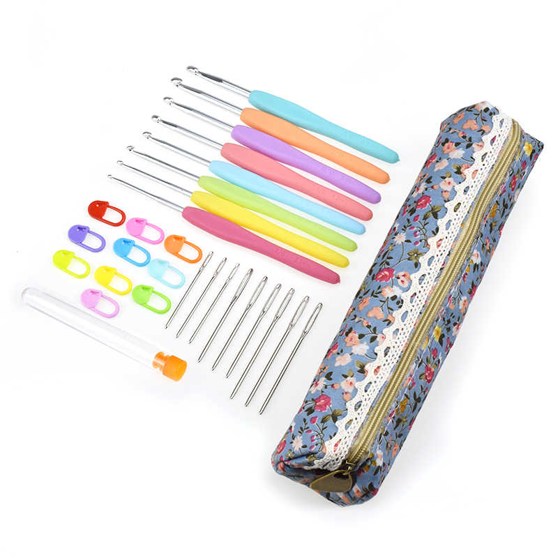 9 шт. KOKNIT крючок для вязания набор вплетать в пряжу Вязание иглы вязание комплект стежок, принимающих Швейные Иглы Швейные Аксессуары в комплекте с сумкой