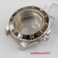 40mm safira vidro data cerâmica moldura marca superior luxo marcas luminosas relógio de aço inoxidável caso apto 8215 2836 movimento