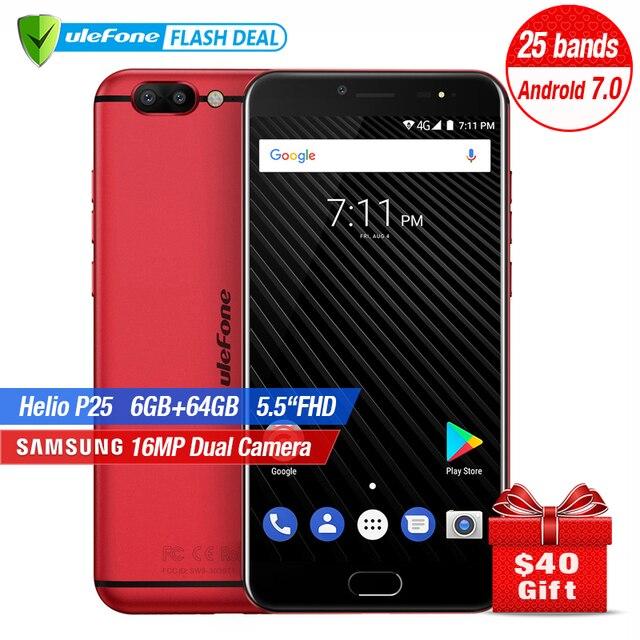 Ulefone T1 Dual Back Camera Mobile Phone 5.5 inch FHD Helio P25 Octa Core Android 7.0 6GB+64GB 16MP Cam Fingerprint 4GSmartphone