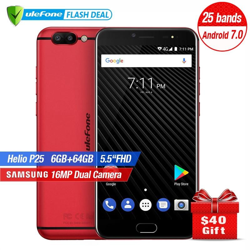 Ulefone T1 Dual Zurück Kamera Handy 5,5 zoll FHD Helio P25 Octa Core Android 7.0 6 GB + 64 GB 16MP Cam Fingerprint 4 GSmartphone