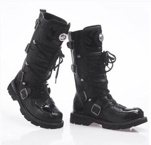 Fashion Boots Winter Leather Designer Tall Black Mens Buckle Cowboy xBCeWQrod