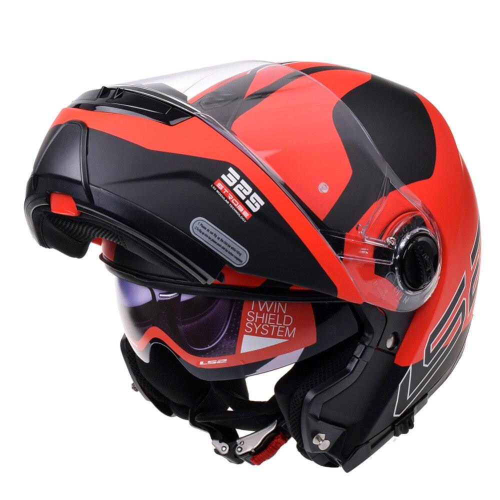 LS2 FF325 Strobe Modulaire Moto Casque Filp up Double Visières Casco Moto Capacetes De Motociclista Professionnel Casques