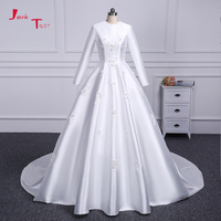 Jark Tozr 100 Real Picture Long Sleeve China Bridal Gowns Appliques Pearls Flowers A Line Satin