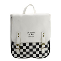 Languo Checkerboard Multi Function PU Canva Student School Bag Girl Travel Leisure Bag High Quality Backpack