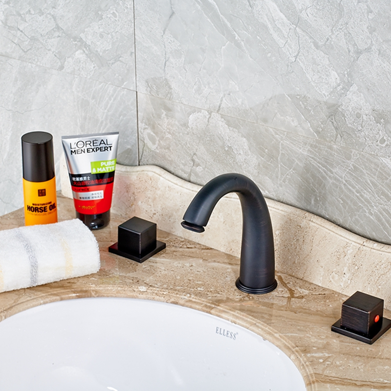 Oil Rubbed Bronze Bathroom Tub Faucet Widespread Vanity Sink Mixer Tap Deck
