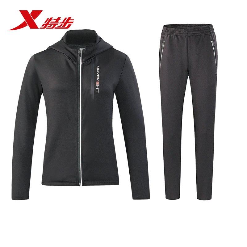 882428969040 xtep femmes en cours d'exécution ensemble sport fit veste et pantalon costume polyester à tricoter en cours d'exécution pour les femmes