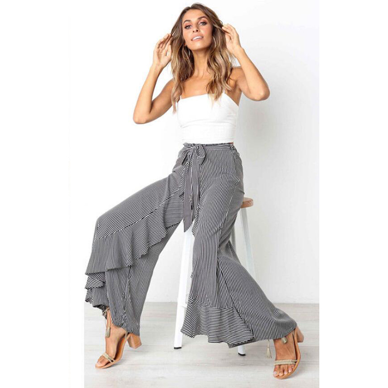 Women's Clothing 2018 Women Wide Leg Pants Ol Office Loose Ruffles Stretch Striped High Waist Long Trousers Ladies Clothes Autumn Fashion New Hot Possessing Chinese Flavors