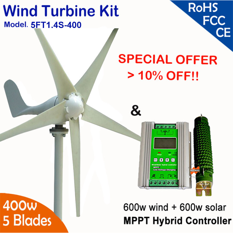 Hot Wind Turbine Kit, 400W 12/ 24vAC 5 Blades Wind Turbine Generator with 1200W MPPT charge controller for hybrid power system free shipping 600w wind grid tie inverter with lcd data for 12v 24v ac wind turbine 90 260vac no need controller and battery
