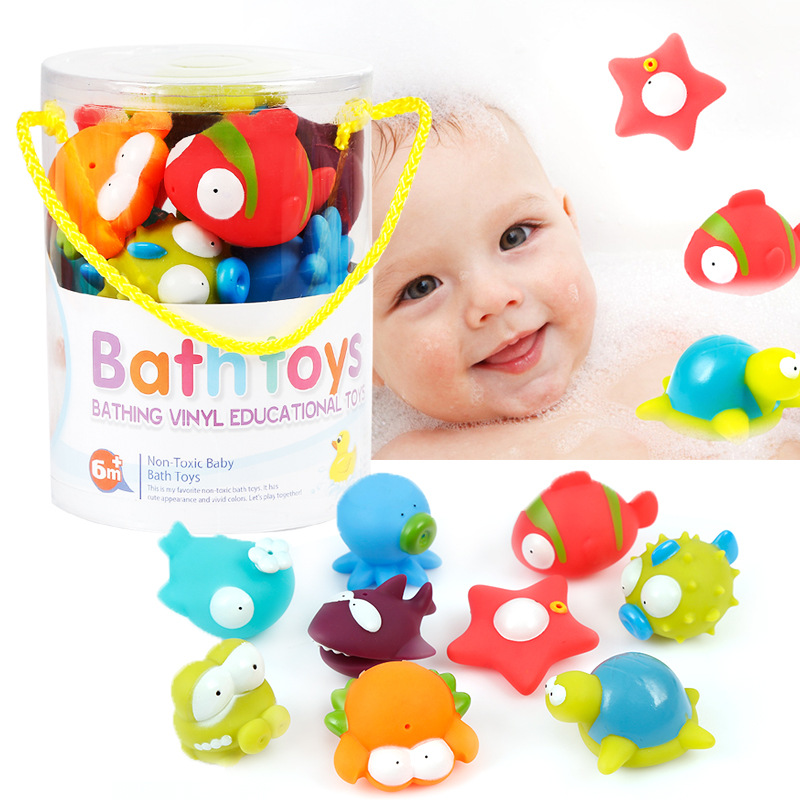 Baby Silicone Animal Doll Cute Animal Pinch Toy Baby Shower Water Toy Set Cool Bath Swimming Pool Baby Toys Safe Material GF09